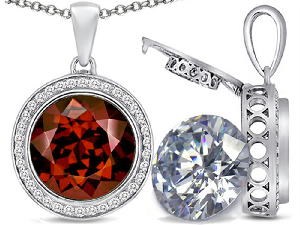 Switch-It Gems 2in1 Round 10mm Simulated Garnet Pendant Necklace with Simulated White Topaz Sterling Silver