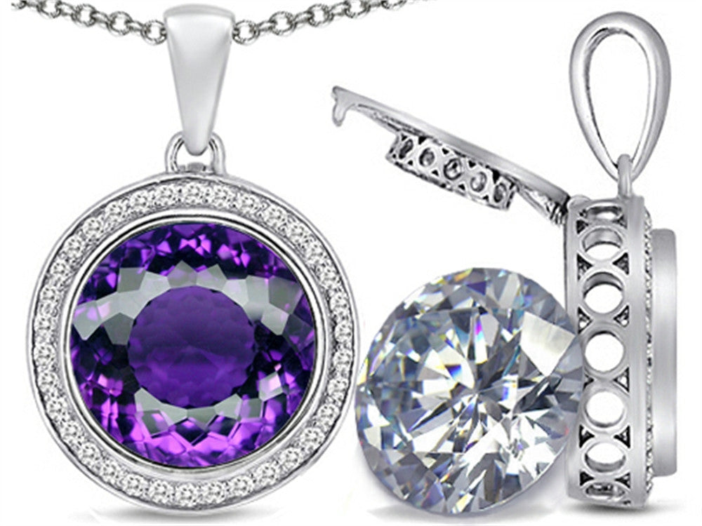 Switch-It Gems 2in1 Round 10mm Simulated Amethyst Pendant Necklace with Simulated White Topaz Sterling Silver