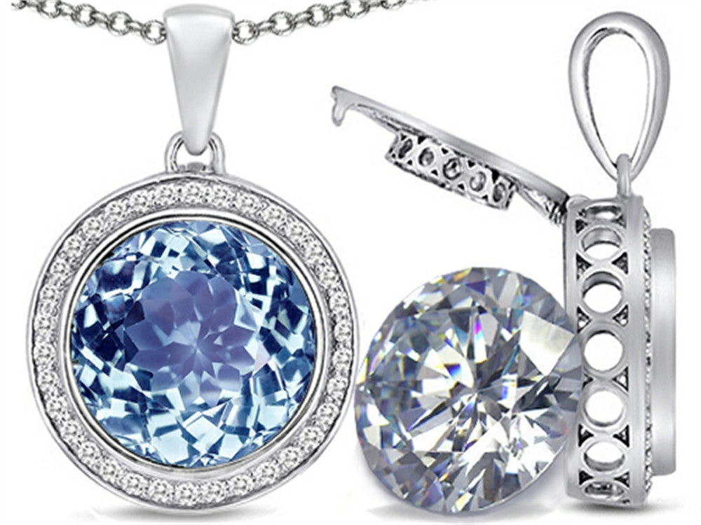 Switch-It Gems 2in1 Round 10mm Simulated Aquamarine Pendant Necklace with Simulated White Topaz Include Sterling Silver