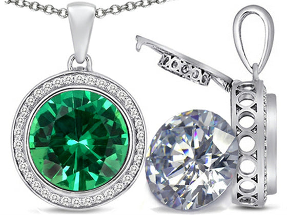 Switch-It Gems 2in1 Round 10mm Simulated Emerald Pendant Necklace with Simulated White Topaz Sterling Silver