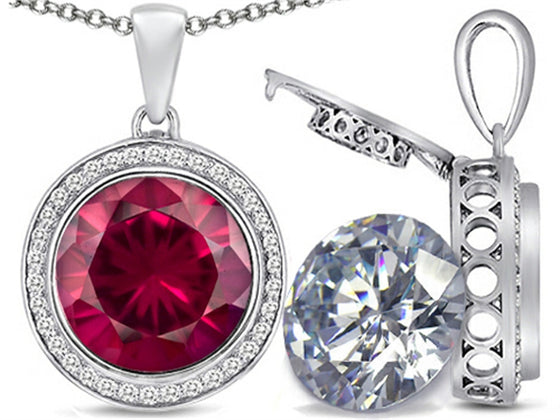 Switch-It Gems 2in1 Round 10mm Simulated Ruby Pendant Necklace with Simulated White Topaz Sterling Silver