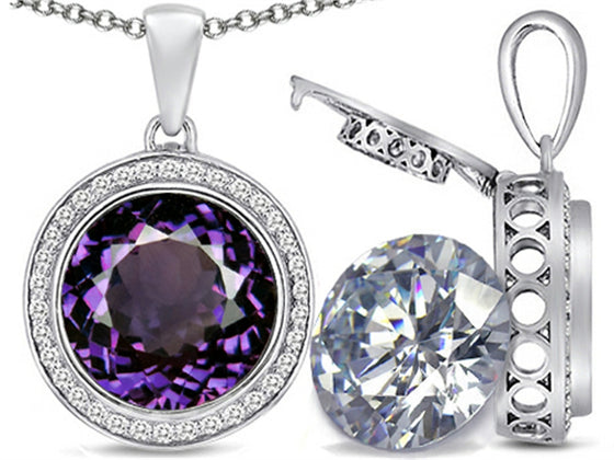 Switch-It Gems 2in1 Round 10mm Simulated Alexandrite Pendant Necklace with Simulated White Topaz Includ Sterling Silver