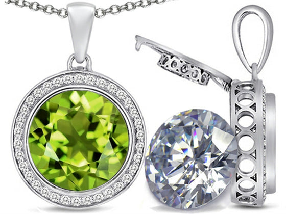 Switch-It Gems 2in1 Round 10mm Simulated Peridot Pendant Necklace with Simulated White Topaz Sterling Silver