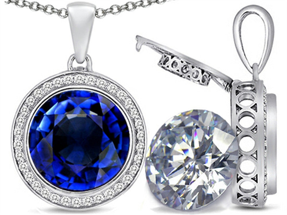 Switch-It Gems 2in1 Round 10mm Simulated Sapphire Pendant Necklace with Simulated White Topaz Sterling Silver