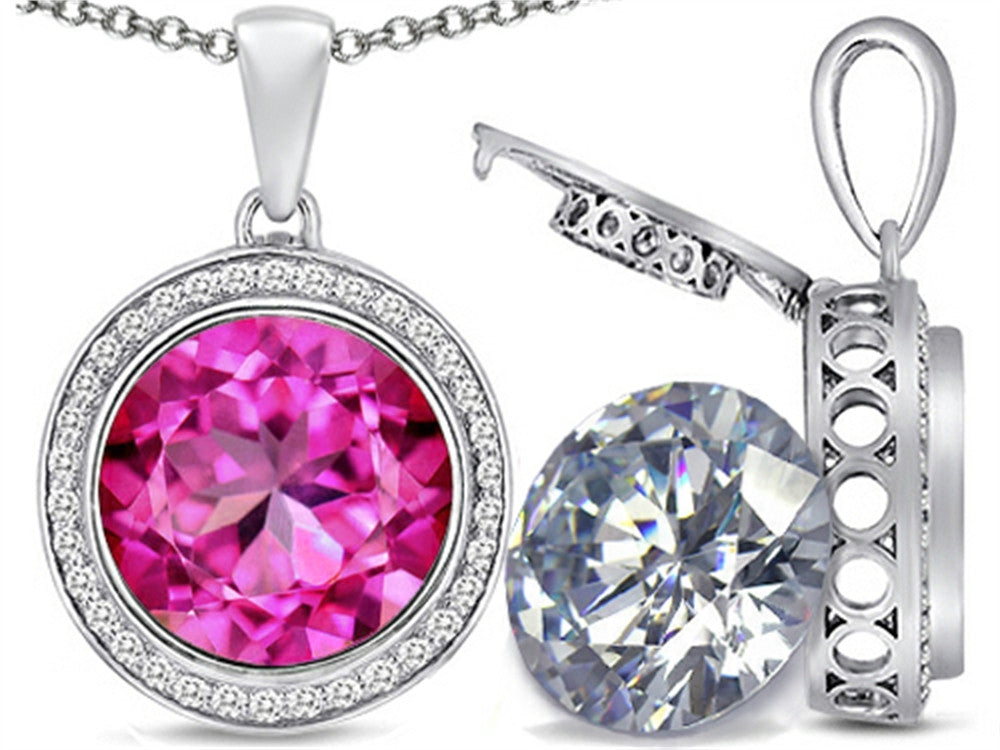 Switch-It Gems 2in1 Round 10mm Simulated Pink Tourmaline Pendant Necklace with Simulated White Topaz in Sterling Silver