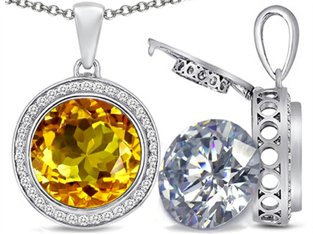 Switch-It Gems 2in1 Round 10mm Simulated Citrine Pendant Necklace with Simulated White Topaz Sterling Silver