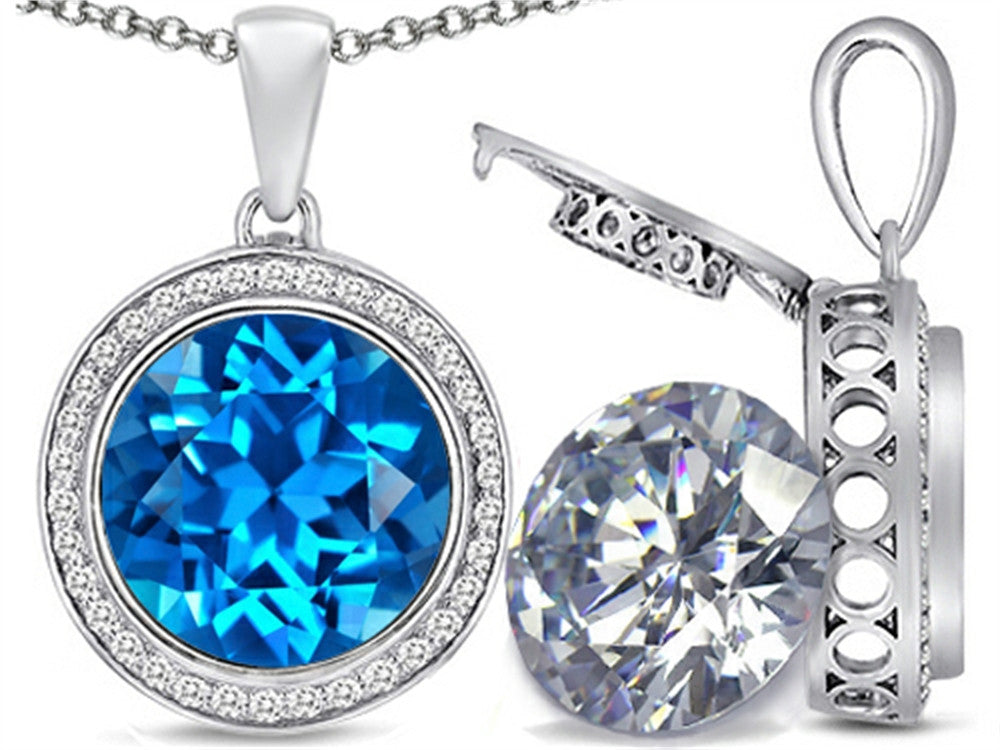 Switch-It Gems 2in1 Round 10mm Simulated Blue-Topaz Pendant Necklace with Simulated White Topaz Include Sterling Silver