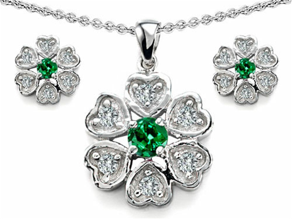 Star K Simulated Emerald Flower Pendant with Matching Earrings Sterling Silver