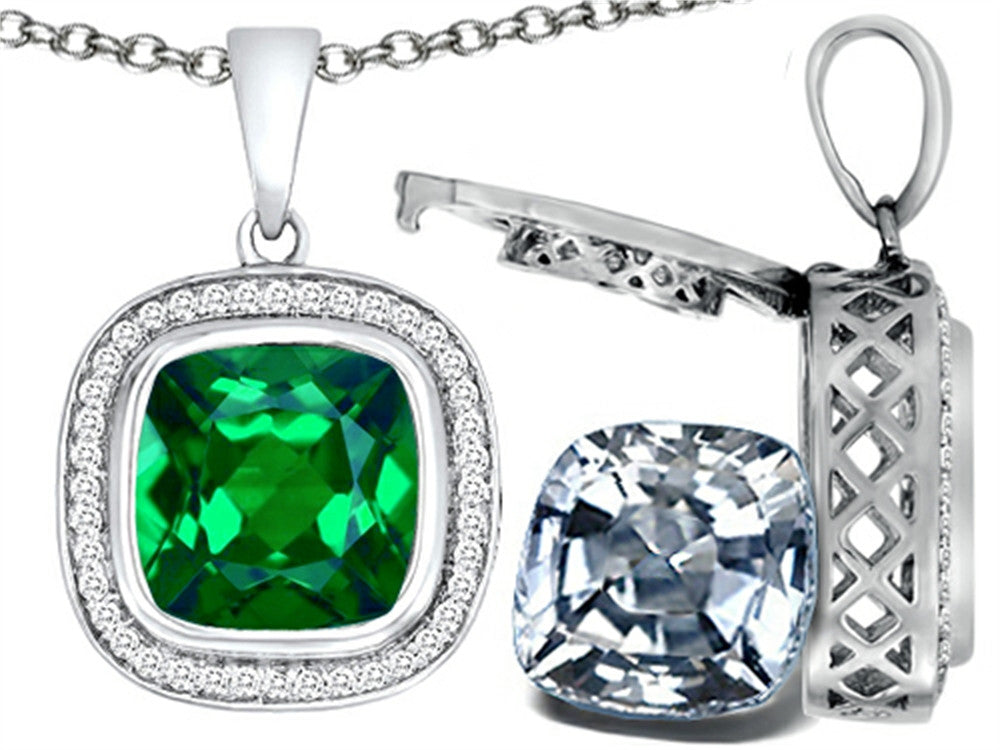 Switch-It Gems 2in1 Cushion 10mm Simulated Emerald Pendant Necklace with Simulated White Topaz Sterling Silver
