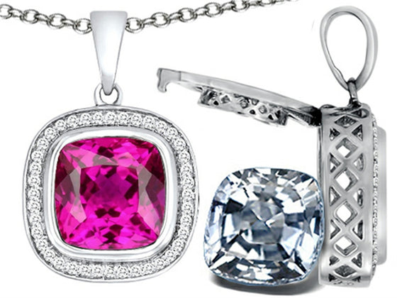 Switch-It Gems 2in1 Cushion 10mm Simulated Pink Tourmaline Pendant Necklace with Simulated White Topaz Sterling Silver