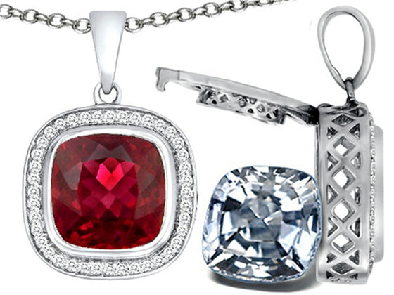 Switch-It Gems 2in1 Cushion 10mm Simulated Ruby Pendant Necklace with Simulated White Topaz Sterling Silver
