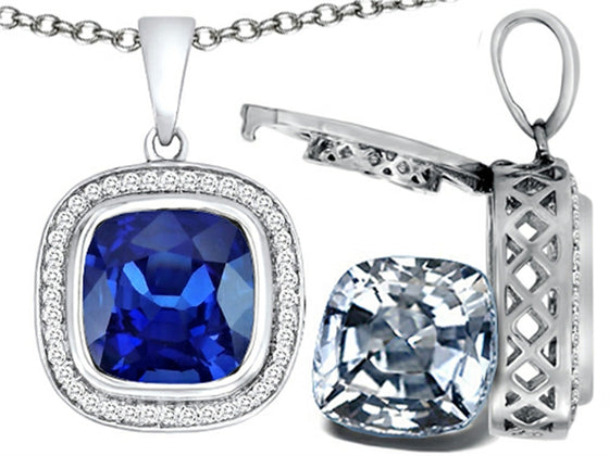 Switch-It Gems 2in1 Cushion 10mm Simulated Sapphire Pendant Necklace with Simulated White Topaz Include Sterling Silver
