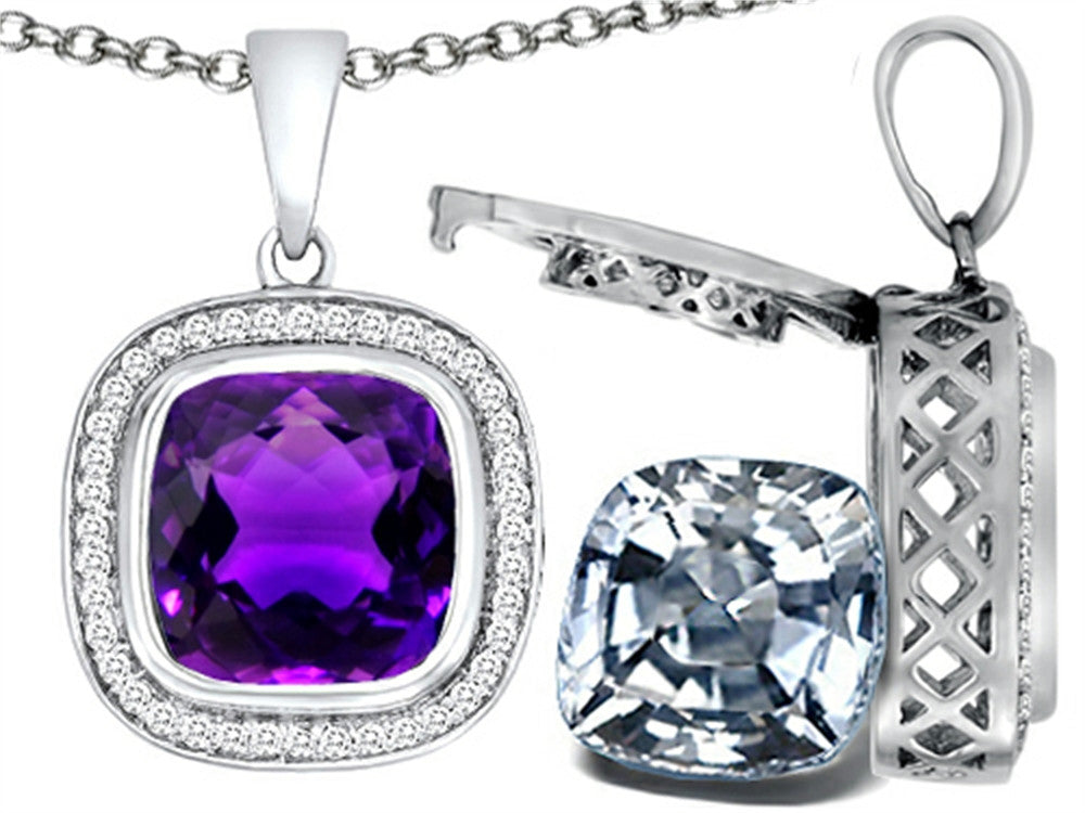 Switch-It Gems 2in1 Cushion 10mm Simulated Amethyst Pendant Necklace with Simulated White Topaz Include Sterling Silver