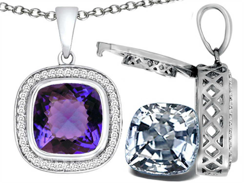 Switch-It Gems 2in1 Cushion 10mm Simulated Alexandrite Pendant Necklace with Simulated White Topaz Incl Sterling Silver