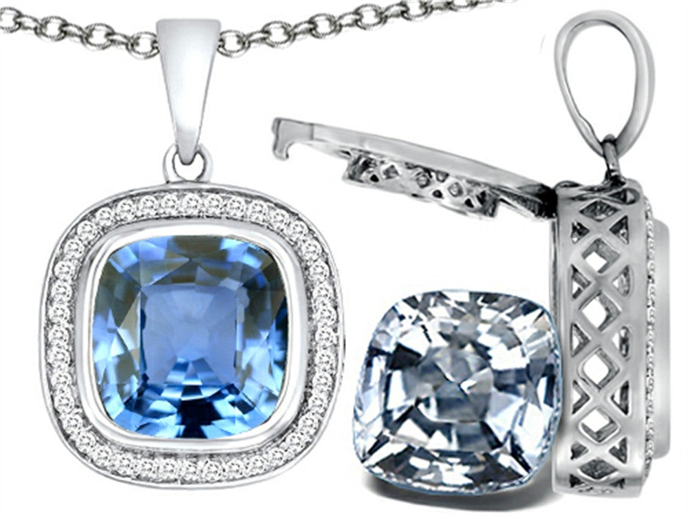 Switch-It Gems 2in1 Cushion 10mm Simulated Aquamarine Pendant Necklace with Simulated White Topaz Inclu Sterling Silver