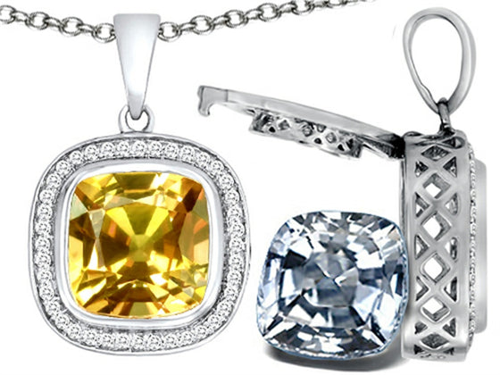 Switch-It Gems 2in1 Cushion 10mm Simulated Citrine Pendant Necklace with Simulated White Topaz Sterling Silver