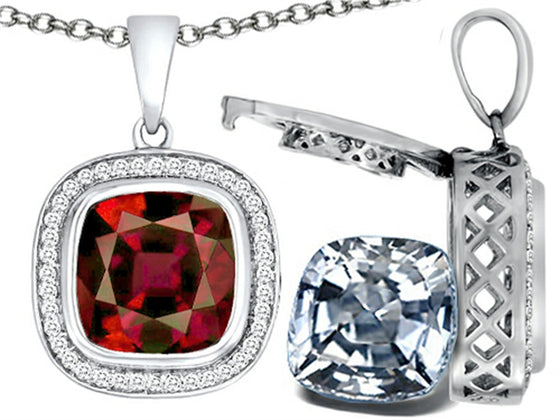 Switch-It Gems 2in1 Cushion 10mm Simulated Garnet Pendant Necklace with Simulated White Topaz Sterling Silver