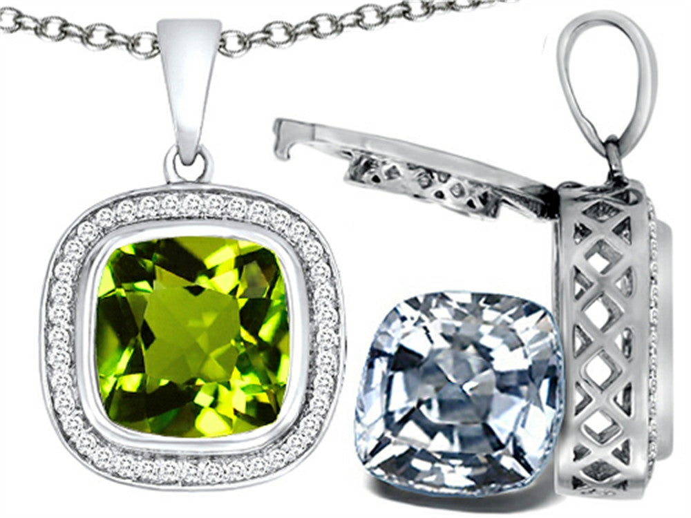 Switch-It Gems 2in1 Cushion 10mm Simulated Peridot Pendant Necklace with Simulated White Topaz Sterling Silver