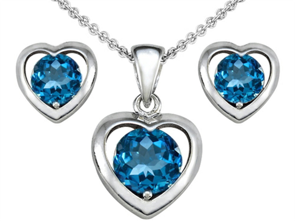 Star K Genuine Blue-Topaz Heart Earrings with matching Pendant Sterling Silver