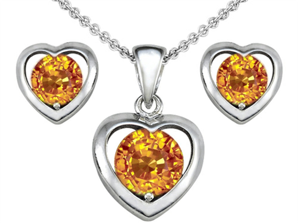 Star K Genuine Citrine Heart Earrings with matching Pendant Sterling Silver