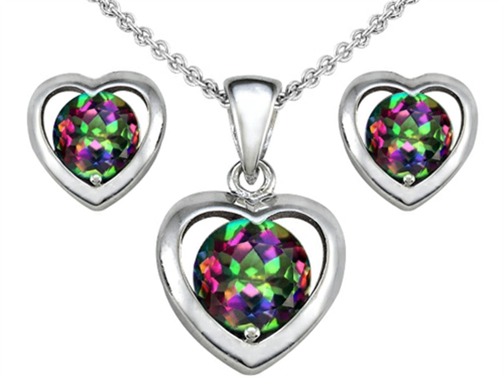 Star K Rainbow Mystic Topaz Heart Earrings with matching Pendant Sterling Silver