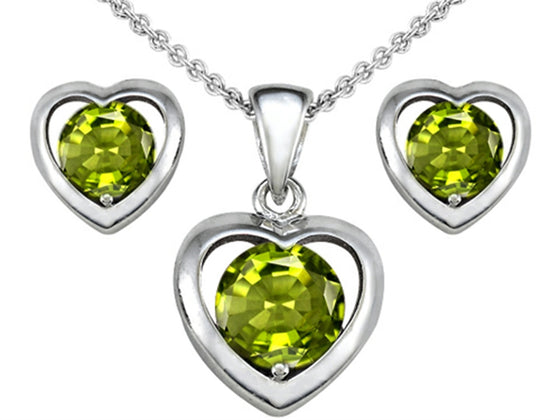 Star K Genuine Peridot Heart Earrings with matching Pendant Sterling Silver