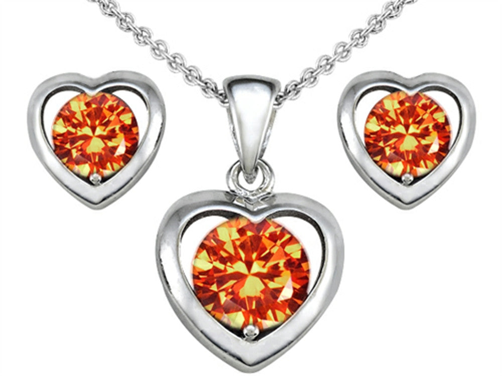 Star K Simulated Orange Mexican Fire Opal Heart Earrings with matching Pendant Sterling Silver