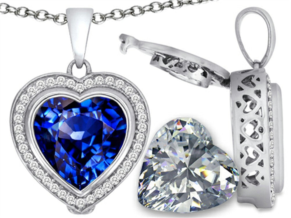 Switch-It Gems 2in1 Heart 10mm Simulated Sapphire Pendant Necklace with Simulated White Topaz Sterling Silver