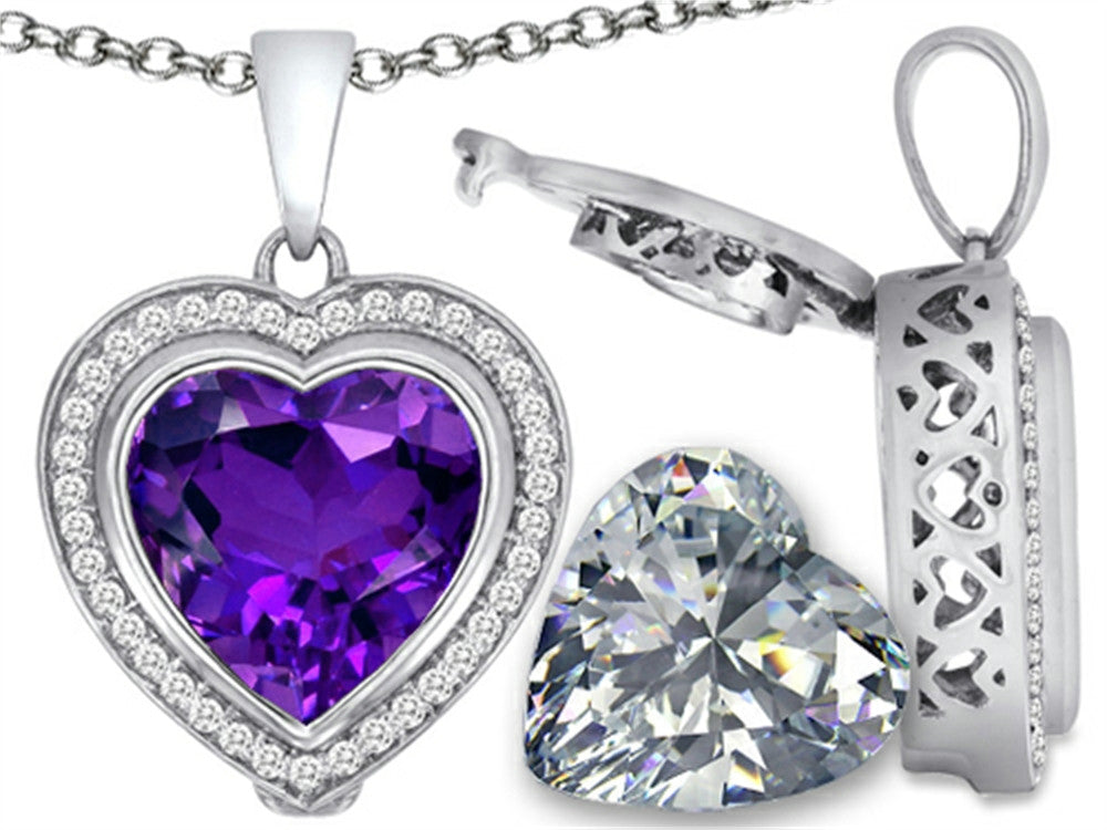 Switch-It Gems 2in1 Heart 10mm Simulated Amethyst Pendant Necklace with Simulated White Topaz Sterling Silver