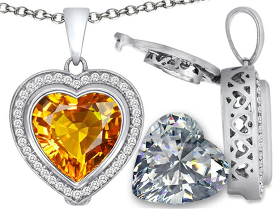 Switch-It Gems 2in1 Heart 10mm Simulated Citrine Pendant Necklace with Simulated White Topaz Sterling Silver