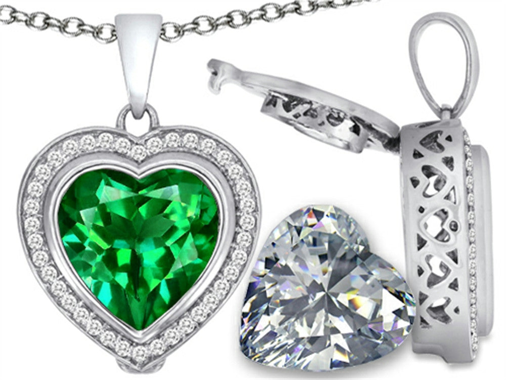 Switch-It Gems 2in1 Heart 10mm Simulated Emerald Pendant Necklace with Simulated White Topaz Sterling Silver