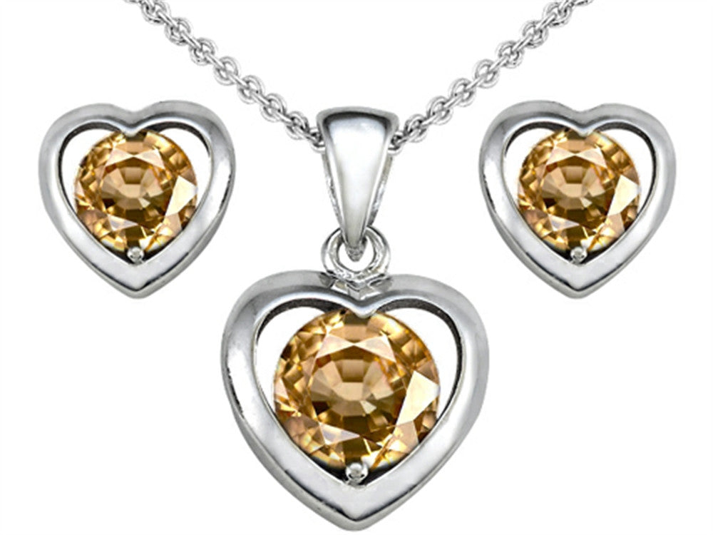 Star K Round Simulated Imperial Yellow Topaz Heart Earrings with Matching Pendant Sterling Silver