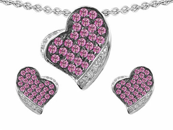 Star K Simulated Pink Sapphire Heart-Shape Love Pendant with Matching Earrings Sterling Silver