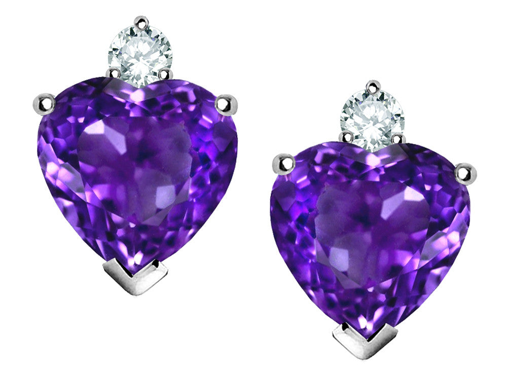 Star K 7mm Heart Shape Simulated Amethyst Earrings Sterling Silver
