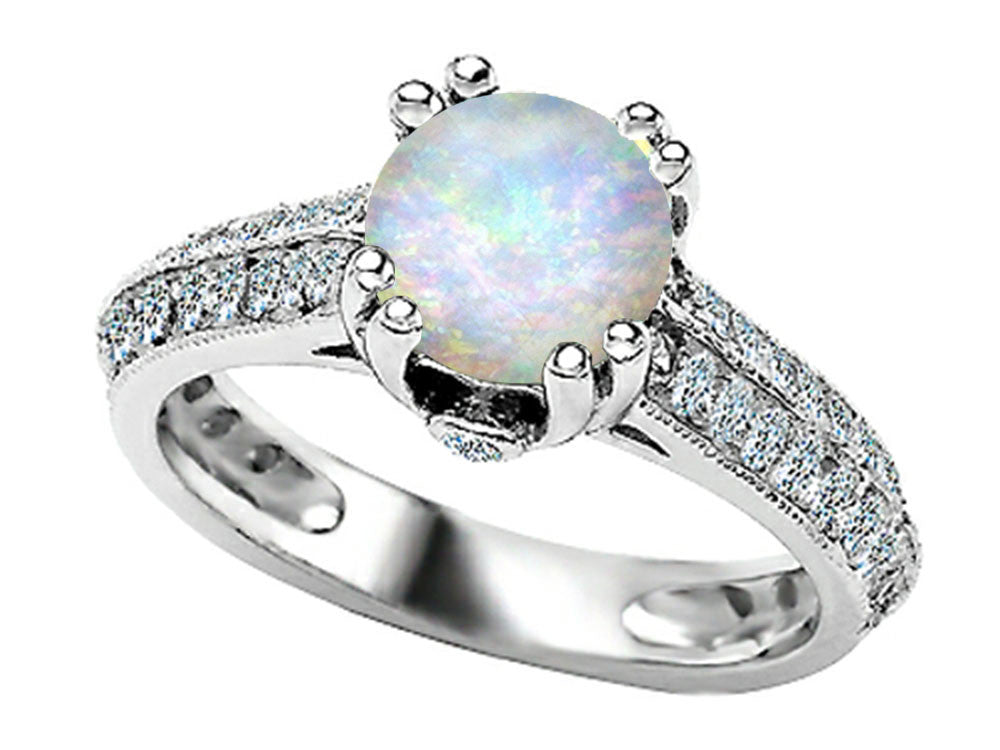 Star K Round Simulated Opal Ring Sterling Silver Size 8
