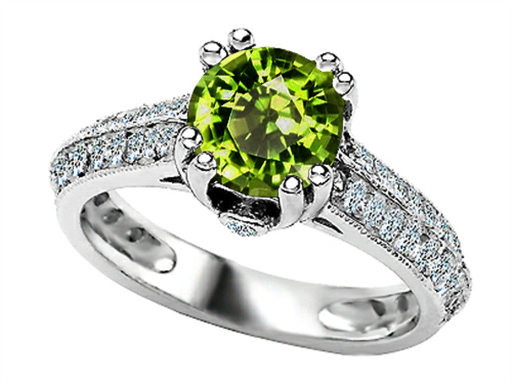 Star K Round Simulated Peridot and Cubic Zirconia Ring Sterling Silver Size 8