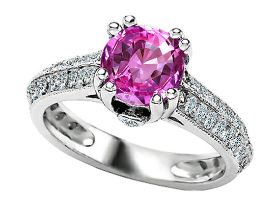 Star K Round Created Pink Sapphire Ring Sterling Silver Size 8