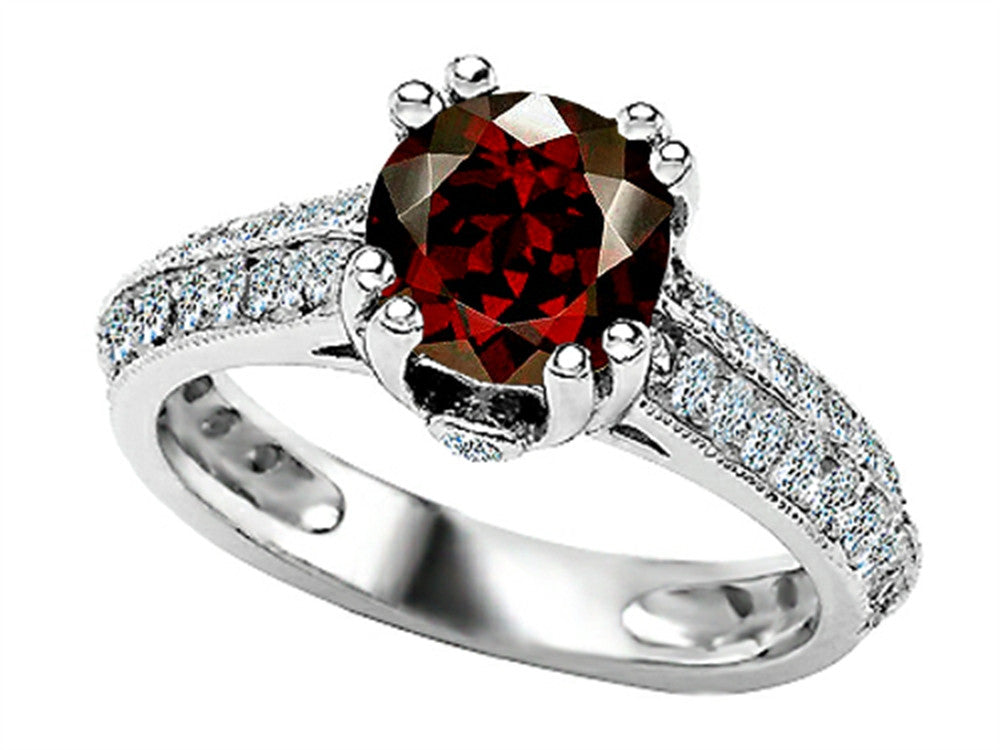 Star K Round Simulated Garnet Ring Sterling Silver Size 8