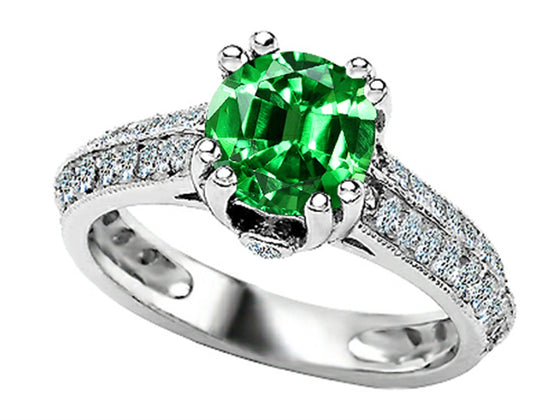 Star K Round Simulated Emerald Ring Sterling Silver Size 8