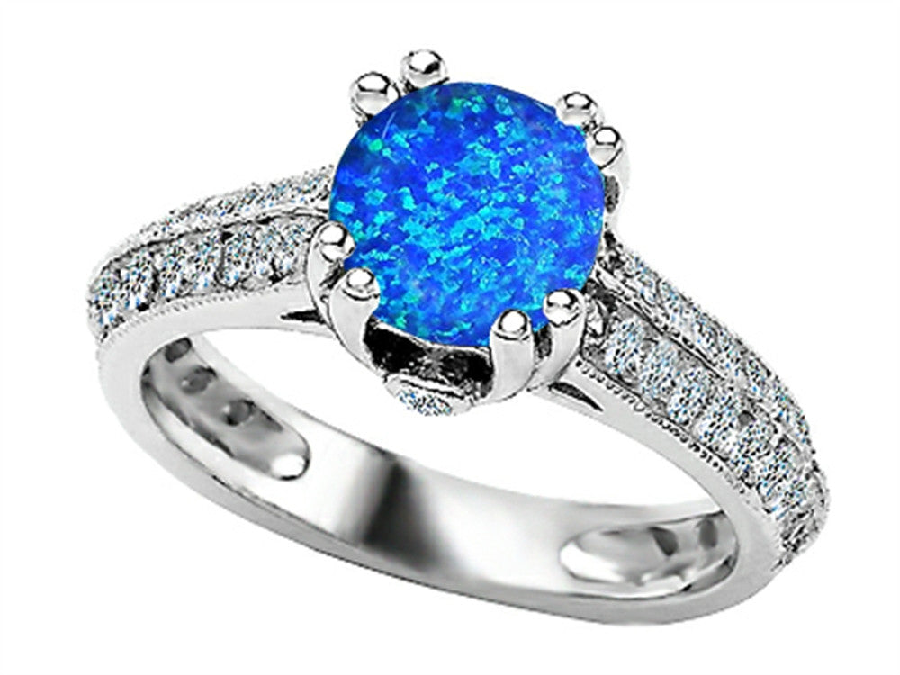 Star K Round Simulated Blue Opal Ring Sterling Silver Size 8