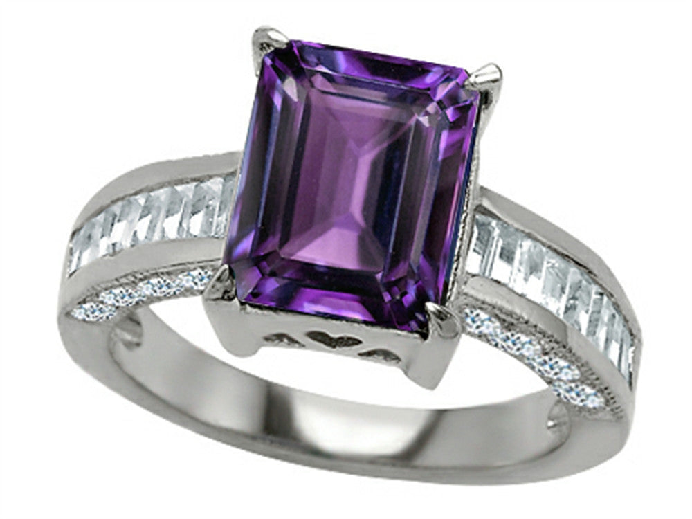 Star K 10x8mm Emerald Cut Simulated Amethyst Ring Sterling Silver Size 8