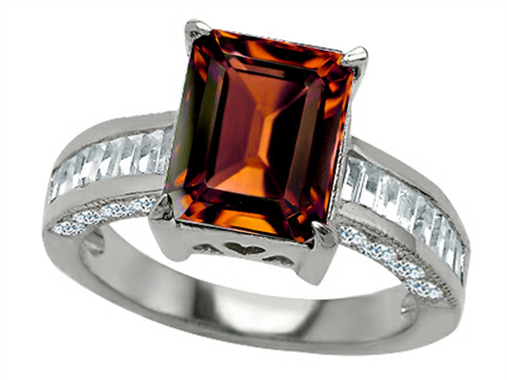 Star K 10x8mm Emerald Cut Simulated Garnet Ring Sterling Silver Size 8
