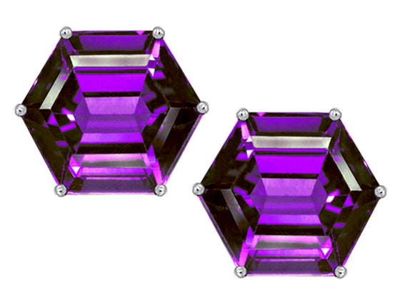 Star K Fancy Octagon Cut Earrings Studs with Simulated Amethyst Sterling Silver