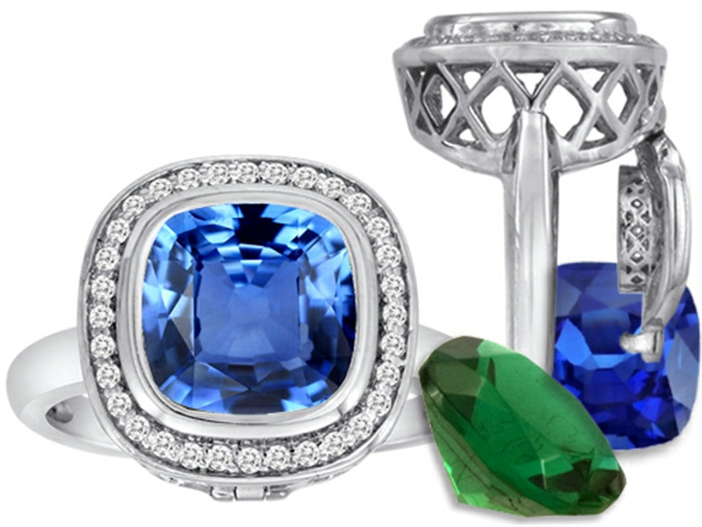 Switch-It Gems Cushion-Cut 10mm Simulated Blue-Topaz Ring Total of 12 Simulated Stones Sterling Silver Size 8