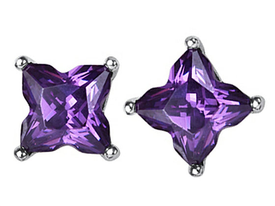 Star K Fancy Cut Star Shape Earrings Studs with Simulated Amethyst Sterling Silver