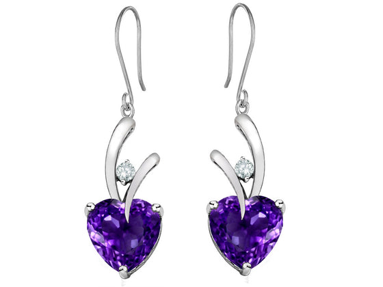 Star K 8mm Heart-Shape Simulated Amethyst Hanging Hook Love Earrings Sterling Silver