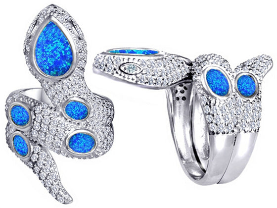 Star K Good Luck Snake Ring with Simulated Blue Opal Stones Sterling Silver Size 8