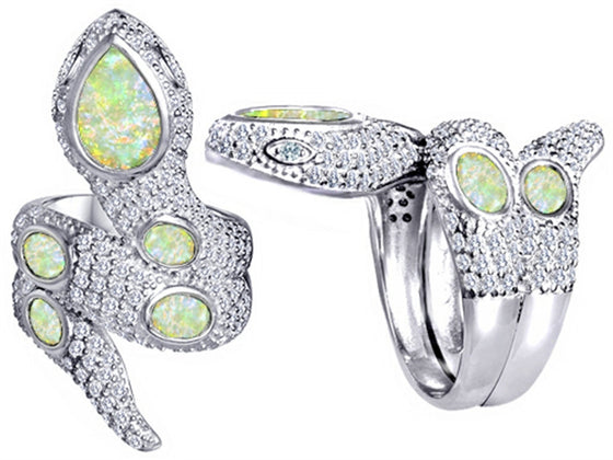 Star K Good Luck Snake Ring with Simulated Opal Stones Sterling Silver Size 8