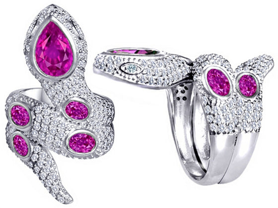 Star K Good Luck Snake Ring with Created Pink Sapphire Stones Sterling Silver Size 8