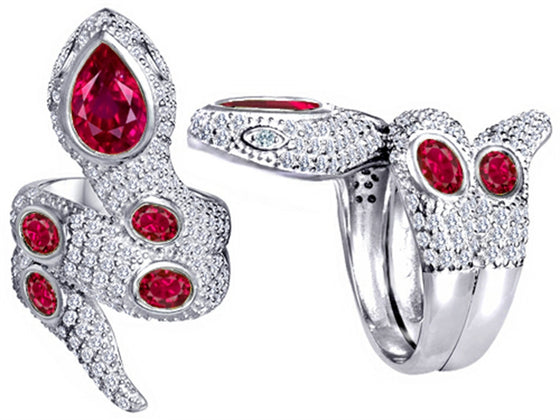 Star K Good Luck Snake Ring with Created Ruby Stones Sterling Silver Size 8
